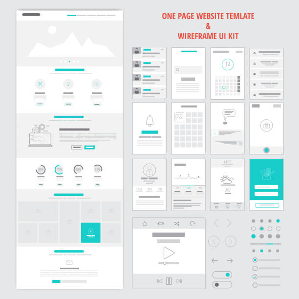 Fllat responsive one page website template Fllat responsive one page website template and mobile app wireframe kit. Vector website wireframe stock illustrations