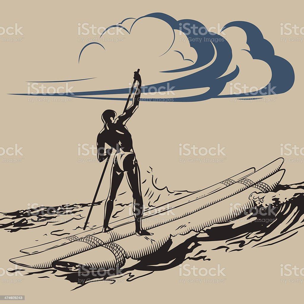 Float in ocean vector art illustration