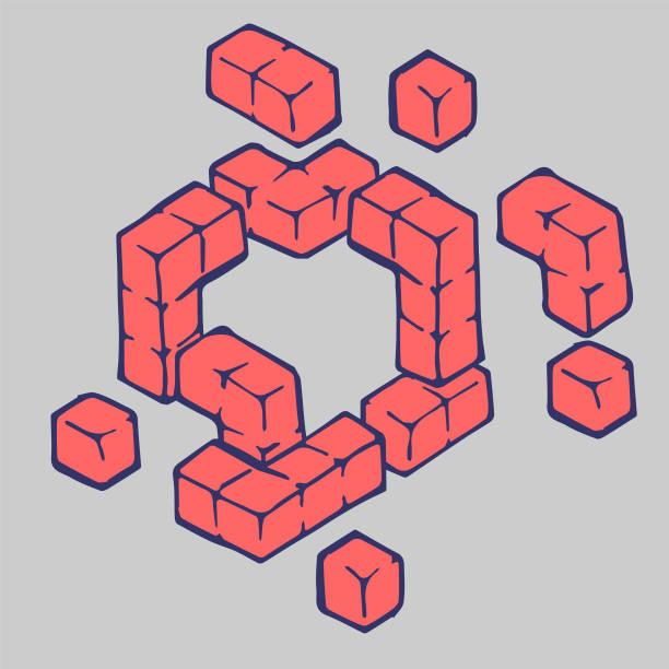 Floating Blocks vector art illustration