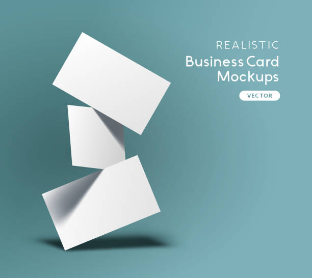 illustrations, cliparts, dessins animés et icônes de vecteur de maquette de cartes de visite flottantes - business card mock up