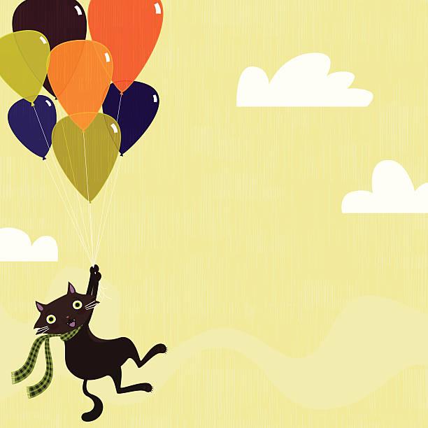Floating cat vector art illustration