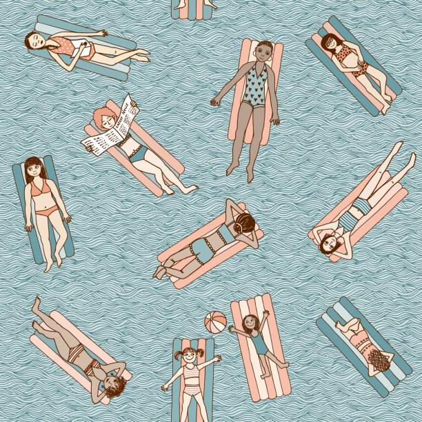 stockillustraties, clipart, cartoons en iconen met zwevende meisjes naadloze patroon - newspaper beach