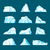 Floating iceberg set. Ice mountain, large piece of freshwater blue ice in open water. Vector flat style cartoon illustration