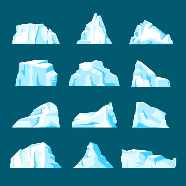 Floating iceberg set Floating iceberg set. Ice mountain, large piece of freshwater blue ice in open water. Vector flat style cartoon illustration arctic stock illustrations