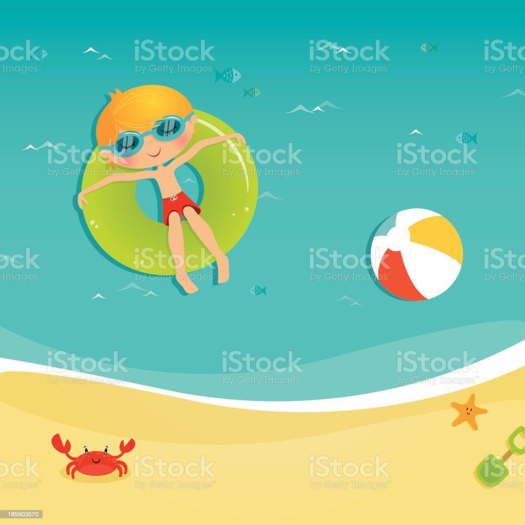 Floating in the ocean vector art illustration