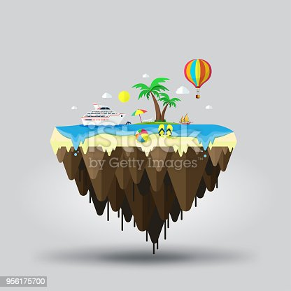 istock Floating island, beach tourism. Travel and tourism 956175700