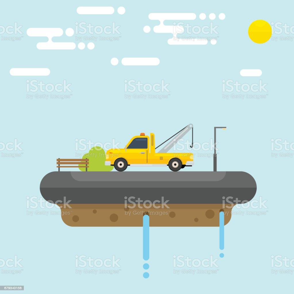 Floating Island with Tow Truck vector art illustration