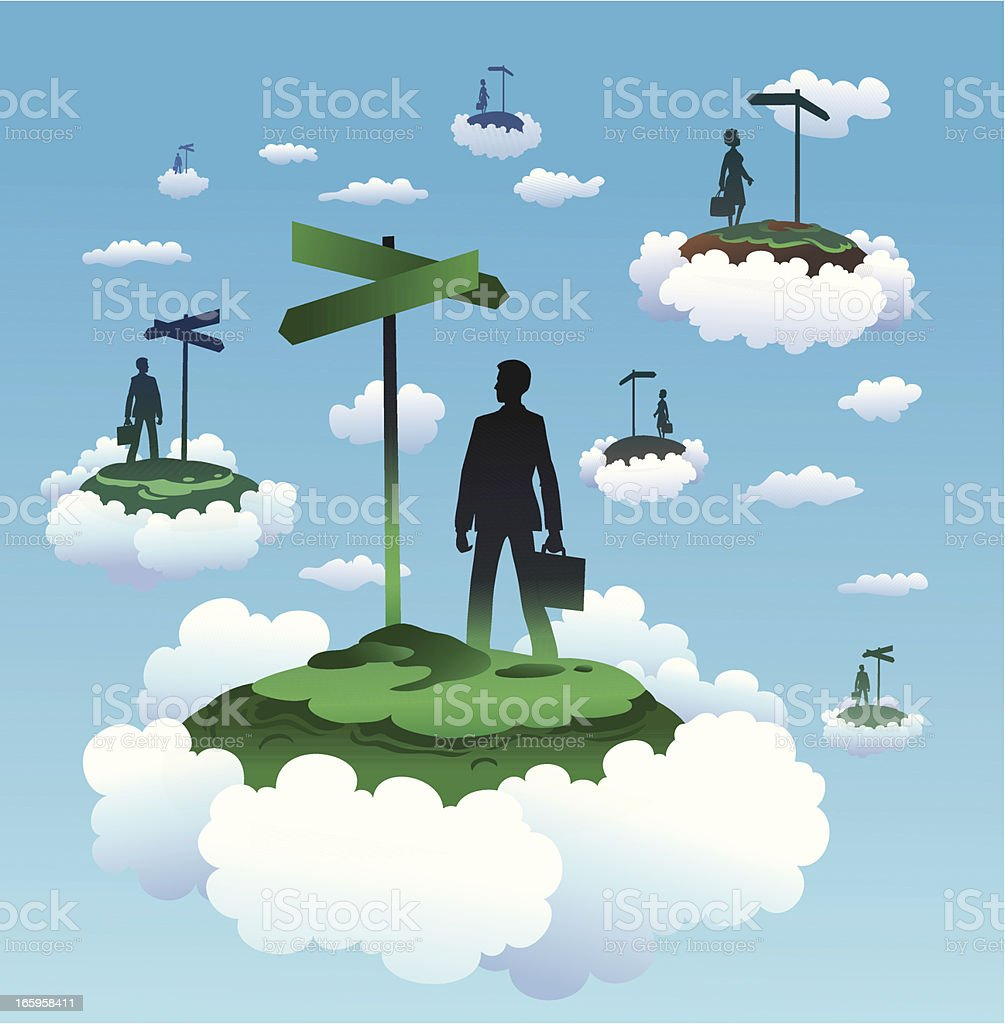 Floating Islands with People and Directional Signs royalty-free stock vector art