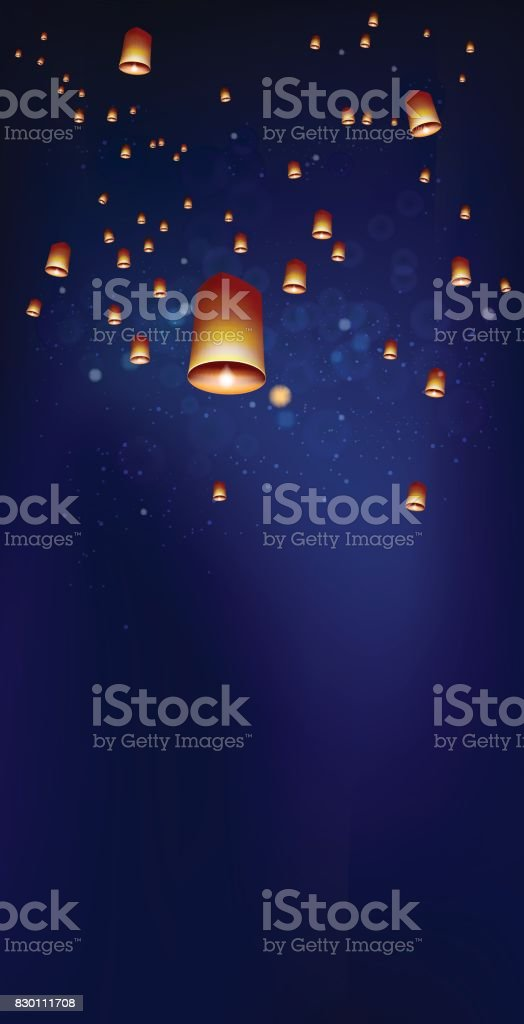 Floating lanterns in the night sky ceremony at Thailand vector art illustration