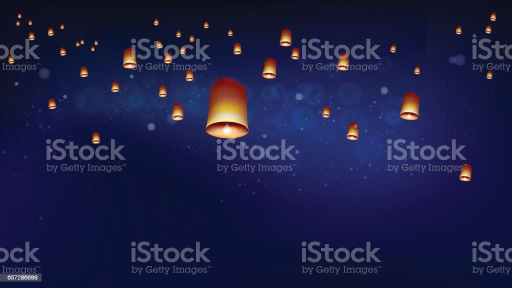 Floating lanterns into the night sky ceremony at North Thailand vector art illustration