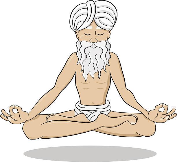 ilustrações de stock, clip art, desenhos animados e ícones de flutuante meditar yogi - tronco nu