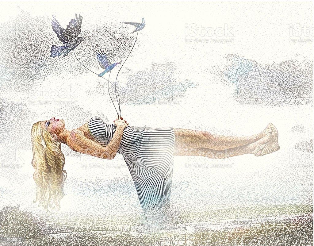 Floating Over Scotland vector art illustration