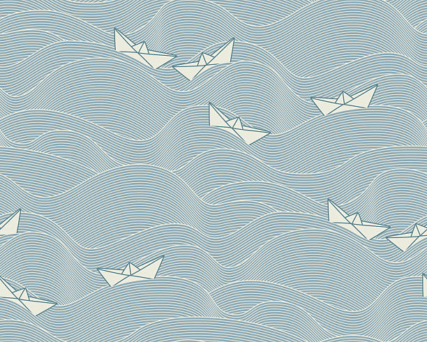 Floating paper boats  (Seamless pattern) Pattern with floating paper boats on a wavy, slate blue ocean in asian style. The style is oriental, contemporary and elegant. The Pattern can be equally used for maritime, holiday or children related layouts. floating on water stock illustrations