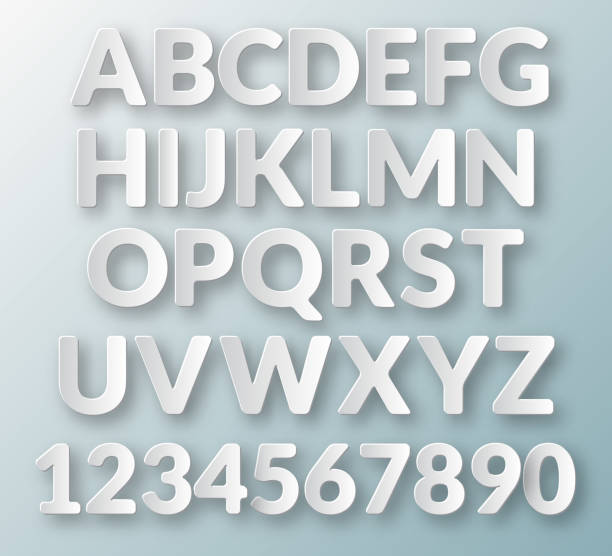floating paper letters and numbers of the alphabet - alphabet clipart stock illustrations