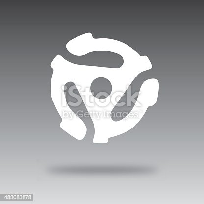 Vector silhouette of a floating record adapter and shadow against a blended background.