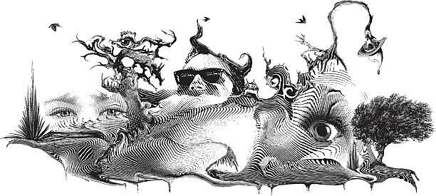 schwimmende surrealistischen landschaftsbild - surreal stock-grafiken, -clipart, -cartoons und -symbole