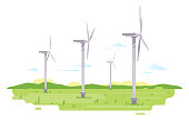 Series of wind generators standing in green field, renewable energy concept illustration in flat style isolated