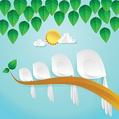 Flock of birds ,Bird family tree Illustration