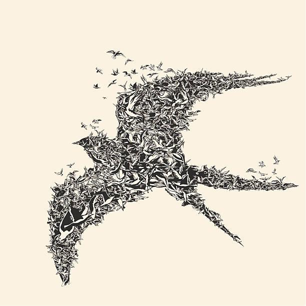 Flock of birds in bird formation vector art illustration