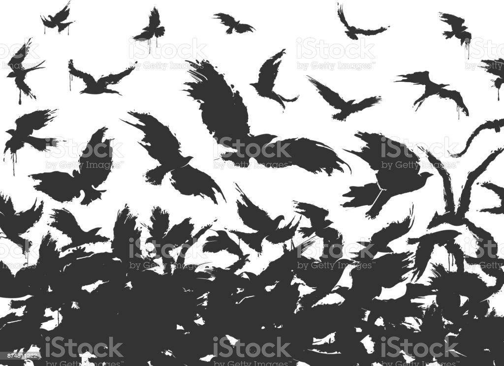 flock of birds in black on a white background vector art illustration