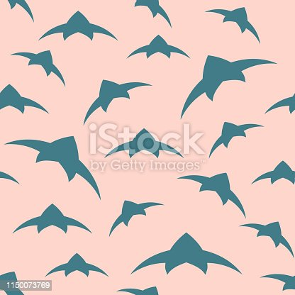 A flock of birds in the sky. Seamless pattern. Vector background