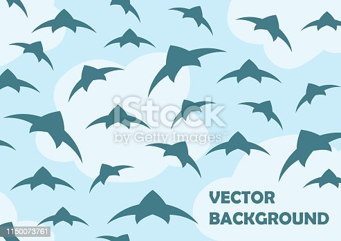 A flock of birds in the sky. Vector background