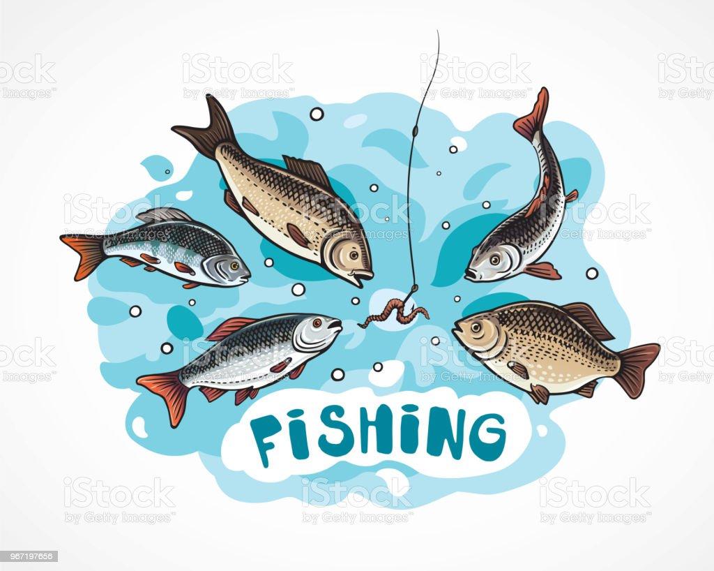 Flock of fish in cartoon style vector art illustration