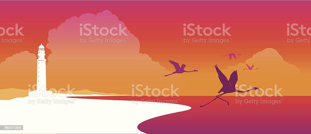Flock von flamingos Fliegen bei Sonnenuntergang – Vektorgrafik