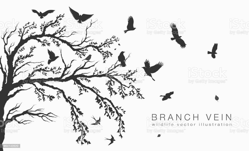 flock of flying birds on tree branch tree royalty-free flock of flying birds on tree branch tree stock illustration - download image now