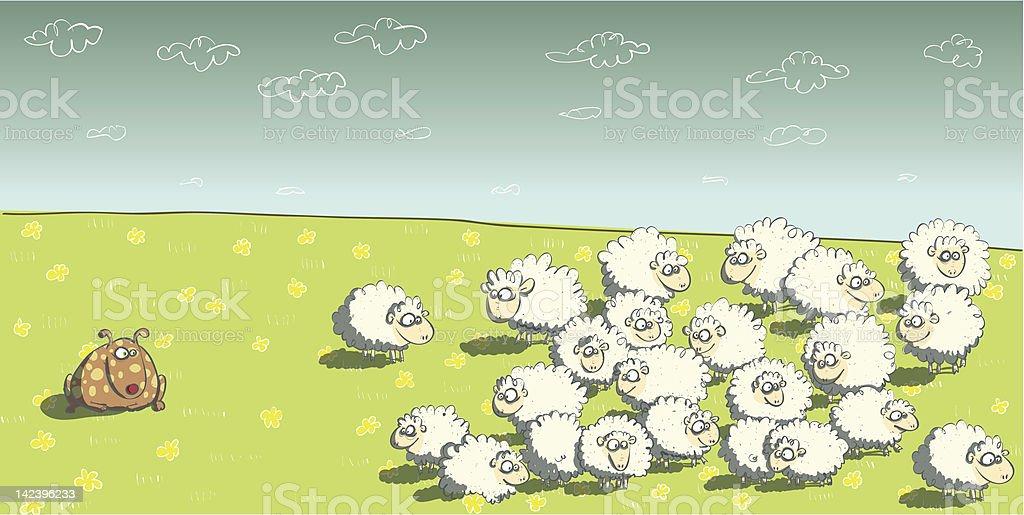 Flock of sheep and Sheepdog vector art illustration
