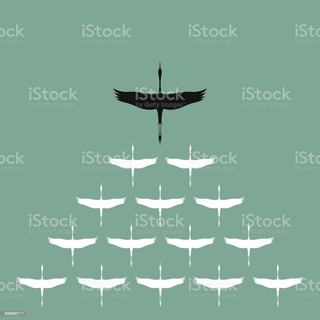 Flock of stork flying in the sky, vector art illustration