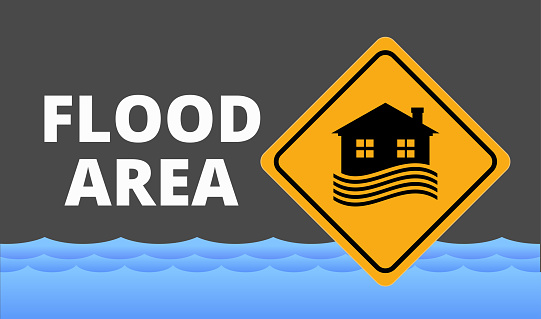 Flood area sign, natural disaster with house, heavy rain and storm , damage with home, clouds and rain, flooding water in city, Flooded house.