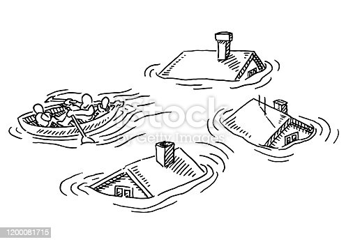 istock Flood Desaster House Roofs Lifeboat Drawing 1200081715