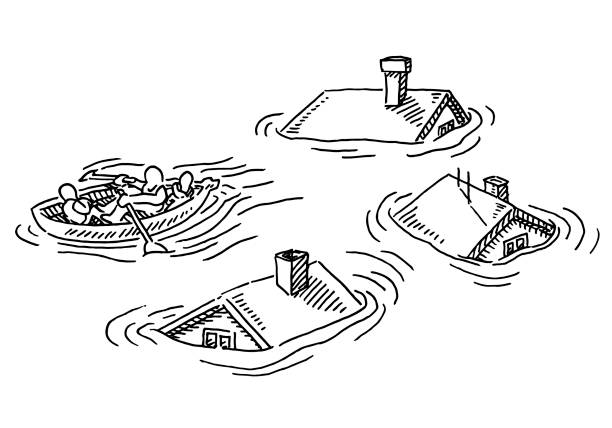 Flood Desaster House Roofs Lifeboat Drawing Hand-drawn vector drawing of a Flood Desaster House Roofs Lifeboat. Black-and-White sketch on a transparent background (.eps-file). Included files are EPS (v10) and Hi-Res JPG. environment stock illustrations