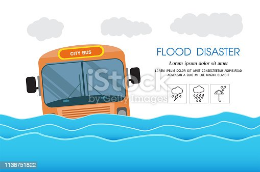 flood disaster, city flood ,water in city stree
