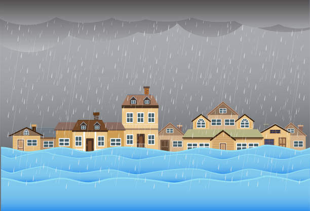 Flood disaster, flooding water in city street, vector design Flood disaster, flooding water in city street, vector design avalanche stock illustrations