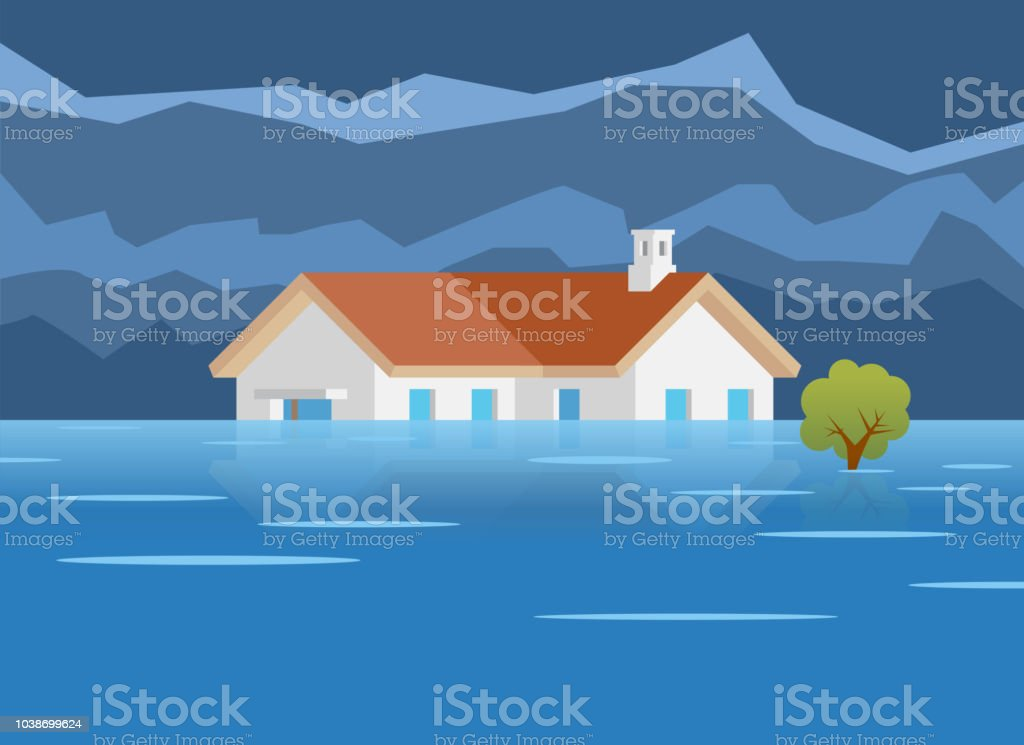 Flood Disaster Home Vector