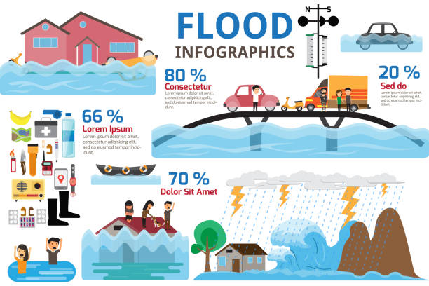 flood disaster infographics. brochure elements of flood disaster and emergency accessories. vector illustration. - сила природы stock illustrations