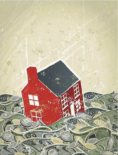 洪水、お金を家に海を眺める ベクターアートイラスト