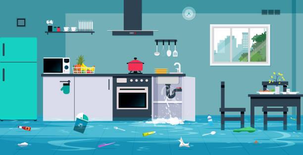 illustrazioni stock, clip art, cartoni animati e icone di tendenza di flood in the kitchen - kitchen room