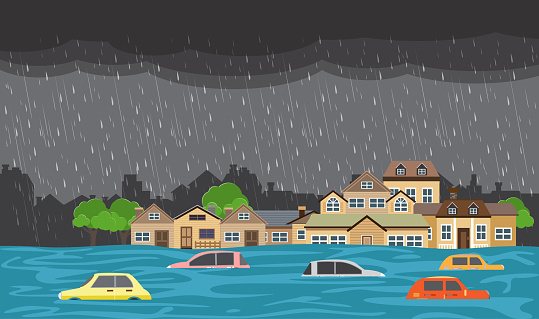 Flood natural disaster with house, heavy rain and storm , damage with home, clouds and rain, flooding water in city