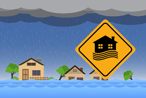 Flood natural disaster with house, heavy rain and storm