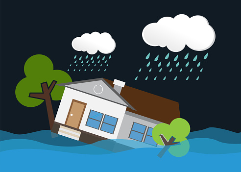 Flood natural disaster with house, heavy rain and storm.