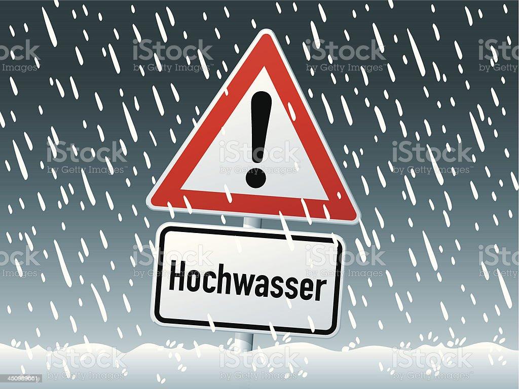 Flood Waters German Warning Sign Rain Vector vector art illustration