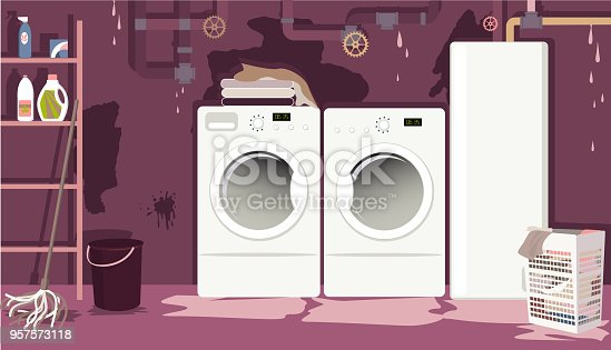 Flooded basement laundry room with leaky pipes, EPS 8 vector illustration, no transparencies