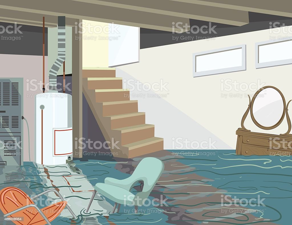 Flooded Basement With Hot Water Tank And Floating Furniture Royalty Free  Flooded Basement With Hot