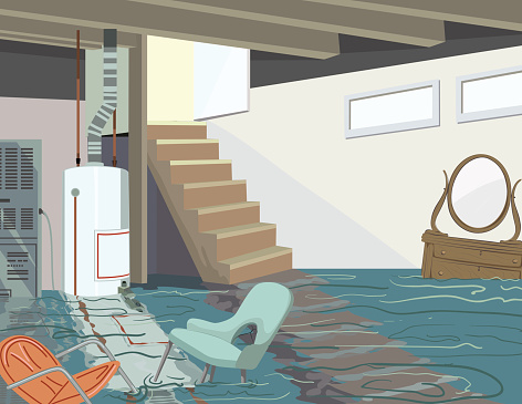 Flooded Basement With Hot Water Tank And Floating Furniture