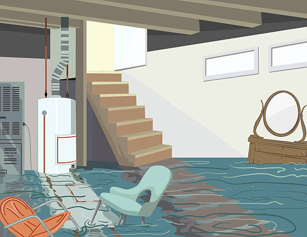 Flooded Basement With Hot Water Tank And Floating Furniture Flooded Basement disaster. Furniture floats on top of the water, There is a furnace and hot water tank in the back and stairs leading to an upper level. The door at the top of the stairs is open. damaged stock illustrations