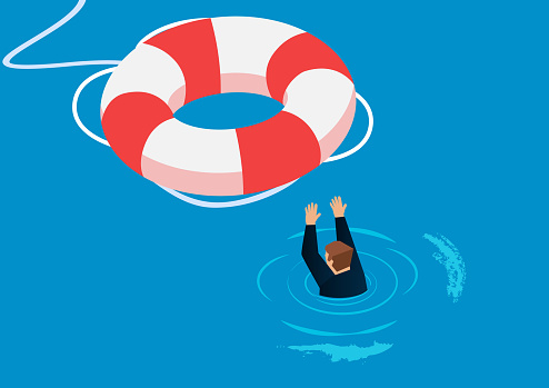 Flooded businessman getting rescue from life buoy