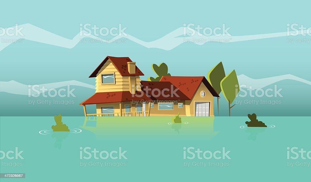 flooded house vector art illustration